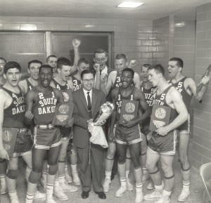 The University of South Dakota Coyotes celebrating a 1958 Division II National Championship in Evansville, Indiana. Photo courtesy of USD.