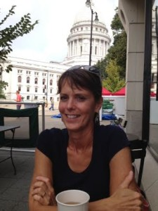 Renee' and I went out for coffee across from the Wisconsin State Capitol. (Labor Day 2013)