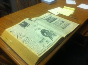 This large binder of PLAINSMAN newspapers from the early 1950's holds three months of newspapers.